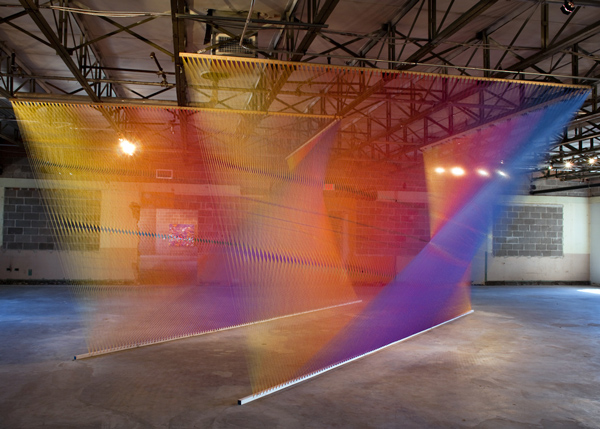 plexus no. 4 + site specific installation at the dallas contemporary + gütermann thread, wood and nails