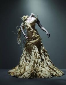 """Alexander McQueen (British, 1969–2010)""""Oyster"""" DressIrere, spring/summer 2003Ivory silk organza, georgette, and chiffon"""