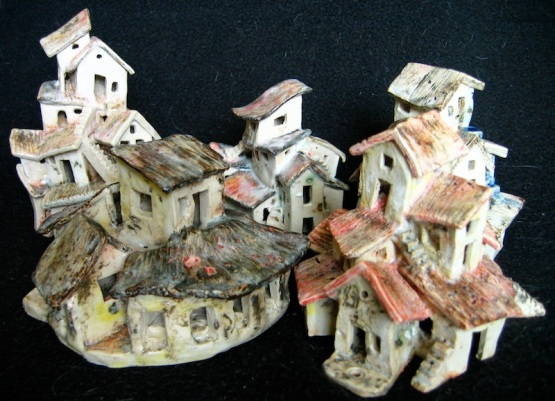 Endeavour, ceramic, under glaze and oxides, a collection of houses