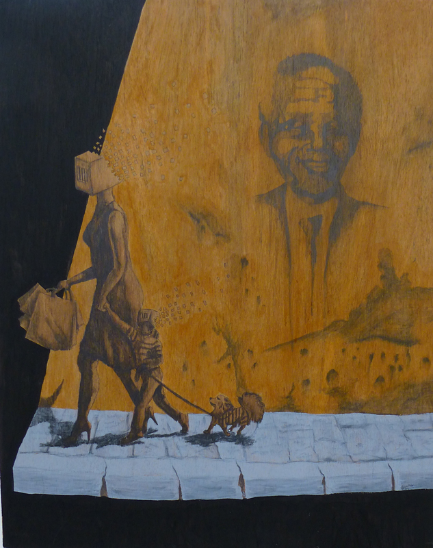 Cultural Entrapment, Graphite and acrylic on wood board