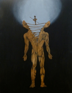 On Balance, Graphite and acrylic on wood board